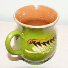 Cana ceramica pentru vin, culoarea verde, smaltuita, de Horezu