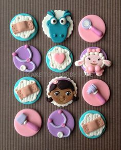 Contact me through my Etsy shop: www.etsy.com/shop/CakeToppersByJulie for a quote! Yo Gabba Gabba Inspired cupcake/cookie toppers Al...