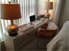 rattan chair and ikea desk