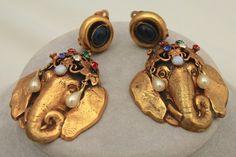 Vintage Joseff of Hollywood Bejeweled Elephant Head Earrings