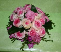 Hand-tied of pink & white roses with freesia edge