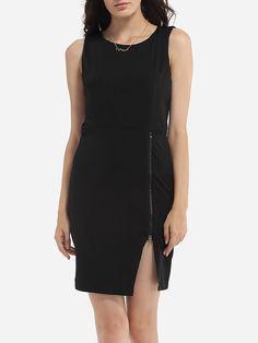 Zips Round Neck Plain Side Slit Bodycon-dress