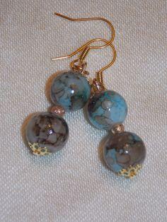 Blue Brown Earrings by EriniJewel on Etsy, $5.00
