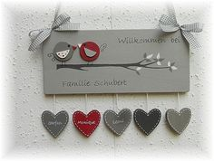 """Tür- & Namensschilder - Türschild    *VÖGEL""""  grau / rot   - ein Designerstück von chrissimo67 bei DaWanda"""