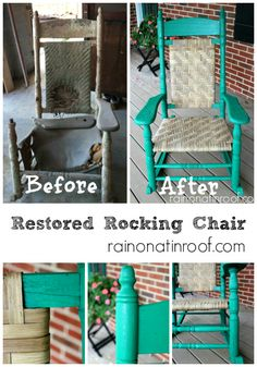 This rocking chair sat untouched in a barn for the better part of 50 years. After a little love and hard work, its like new. Restored Rocking Chair via RainonaTinRoof.com