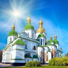 Morning Saint Sophia Cathedral church and sunshine. Kiev-City centre, Ukraine