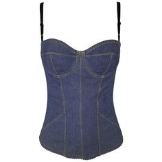 Preowned 1996 Dolce & Gabbana Pin-up Denim Bustier Corset Top 40 (12335435 PYG) ❤ liked on Polyvore featuring tops, black, bustiers, corset bustier, denim top, bustier corset tops, dolce gabbana bustier and corsette tops