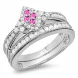 Share 0.80 Carat (ctw) Sterling Silver Round Pink Sapphire & White Diamond Ladies Bridal Marquise Shape Promise Engagement Ring Set With Matching Band 3/4 CT - Dazzling Rock #https://www.pinterest.com/dazzlingrock/