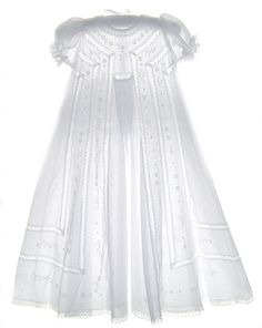 Embroidered Christening Gown with Pintucks and Lace Insertion with Short Puffed Sleeves Baby Christening Outfit, Lace Christening Gowns, Baptism Gown, Vintage Baby Dresses, Baby Girl Dresses, Vintage Outfits, Frocks And Gowns, Blessing Dress, Angel Gowns