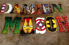 Andrea Custom Order for Z's birthday Avengers Room, Marvel Room, Superhero Room, Batman Room, Crafts For Kids, Arts And Crafts, Reno, Wooden Letters, Kids Decor