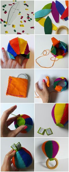 Tutorial to make a felt DIY Maraca Baby Rattle - Great craft project for Cinco de Mayo - by Yay for Handmade! Easy Diy Crafts, Baby Crafts, Felt Crafts, Diy Crafts For Kids, Sewing Toys, Baby Sewing, Diy Wedding Games, Diy Bebe, Felting Tutorials