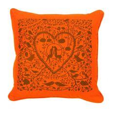 Orange cushion idea for living room from etsy seller misterrob.