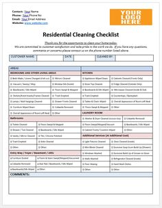 Residential cleaning checklist to help out with your cleaning business House Cleaning Prices, Cleaning Services Prices, Business Cleaning Services, Cleaning Service Flyer, Cleaning Contracts, Cleaning Services Company, Residential Cleaning Services, House Cleaning Checklist, Cleaning Companies