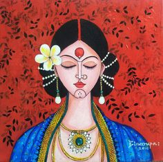 Tickled by Inspirations.: Artist of the month: Mona Biswarupa - Tickled by Inspirations…: Artist of the month: Mona Biswarupa - Durga Painting, Lotus Painting, Painting Tips, Painting Art, Watercolor Painting, Indian Women Painting, Indian Art Paintings, Wall Paintings, Abstract Paintings