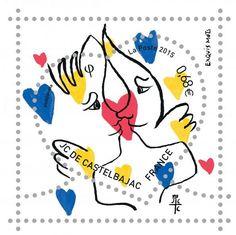 """[Philatélie]Les timbres """"Coeur"""" Saint-Valentin 2015 ont été réalisés par Jean-Charles de Castelbajac : le premier, un timbre avec un décor de cœur présentant deux amoureux se touchant le nez, tel un baiser d'esquimau – d'où le jeu de mots « exquis mots ». Les visuels ont été dévoilés par l'auteur dès le début du mois de décembre 2014 sur Twitter..."""