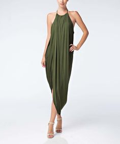 Look what I found on #zulily! Love In Olive Asymmetrical Halter Maxi by Love In #zulilyfinds