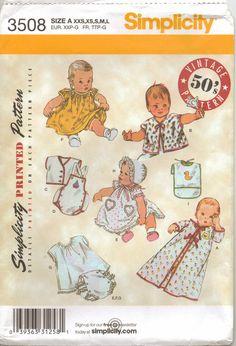 Simplicity Pattern 3508 Vintage 50's Pattern Baby Layette Size XXS to Large. $7.00, via Etsy.