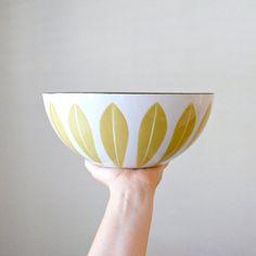 Large Cathrineholm Lotus Bowl 9 1/2 Mustard by bergenhouse