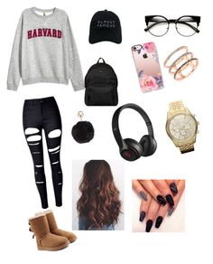 """""""On the run"""" by httpxchassy on Polyvore featuring H&M, WithChic, UGG, Hogan, Casetify, Nasaseasons, Humble Chic, Beats by Dr. Dre, EF Collection and MICHAEL Michael Kors"""