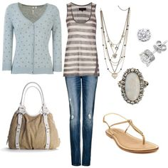 light blue and grey, created by sandreamarie on Polyvore
