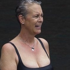 """You remember her from """"Trading Places"""" with Eddie Murphy, and those god awful poopy yogurt commercials. At Jamie Lee Curtis enjoyed a dip in Hawaii on Thursday. I don't think the yogurt is working."""