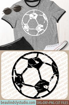 Soccer SVG File, Grunge Soccer Ball SVG, Distressed Soccer Ball SVG, SVG File For Cricut Projects, SVG File For Silhouette Pattern, Clipart DXF File, PNG Image File. This fun vintage inspired distressed soccer ball design is perfect for customizing! You can add a player's name and or number, team name or a special saying! It's Perfect for Soccer Girls, Soccer Boys, Soccer Women and Soccer Men, their family, friends and teammates! By: www.beaulindslystudio.com