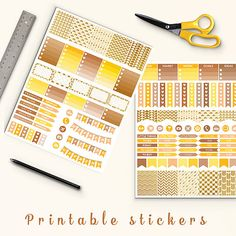 Printable Stickers -  http://etsy.me/2cbJIl8 Cream and gold arrows planner stickers pack is perfect for create handmade planners, stationery, greeting cards, craft items and much more.