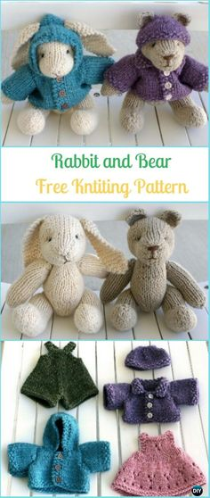 Amigurumi Rabbit and Bear Free Knitting Pattern - Amigurumi Knit Bunny Toy Softies Free Patterns