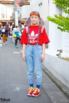 18-year-old student on the street in Harajuku with twin tails, orange bangs, resale fashion, #Spank! #girls suspenders a Patrick Star backpack! #tokyofashion #street snap #Harajuku