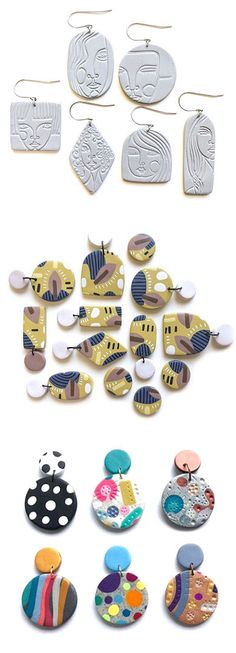 Jewellery Online Kuwait near Modern Jewelry Display Cases per Jewellery Making For Beginners Pictures Fimo Clay, Polymer Clay Projects, Polymer Clay Jewelry, Diy Clay Earrings, Keramik Design, Clay Design, Ceramic Jewelry, Jewelry Making, Jewellery Shops