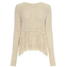 A.l.c. - Andreas Fringe Silk Blend Sweater ($365) ❤ liked on Polyvore featuring tops, sweaters, bohemian sweaters, fringe top, cross back sweater, brown fringe top and criss cross back top