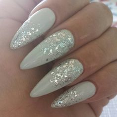 Grey stilettos with silver glitter @cocoharter
