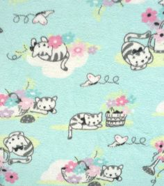 Micro Fleece Fabric -Sweet Kitty Blue
