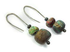 Artisan Earrings  porcelain dangle ceramic glass by greybirdstudio, £19.00