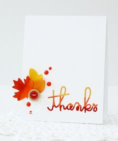 Card by SPARKS DT Erin Taylor PS stamp dies: Thanks Word, Leaves 1