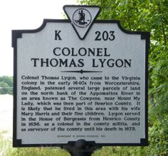 Col. Thomas Lygon our 9th Great Grandfather, on mother's father's side, Stubblefield-Welch side.