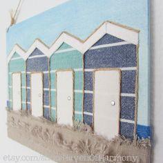 Original Fabric Beach Illustration on Canvas by HavenOfHarmony, €35.00