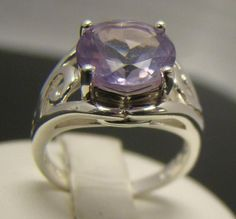 925 STERLING SILVER RING 10MM ROUND PINK AMETHYST LIGHT PURPLE SOLITAIRE SZ 6.5 #Solitaire