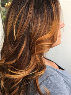 Fall hair. Cinnamon balayage. Copper beautiful bronze