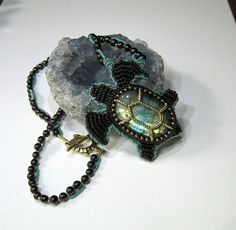 Labradorite Beaded Turtle Necklace. by BeadedNature on Etsy, $135.00