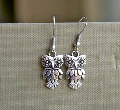 Little Owl Earrings Dangle Charm Antique Tibetan Silver by cchmade, $2.99