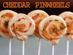 Cheddar Pinwheels - food is better on a stick ; )