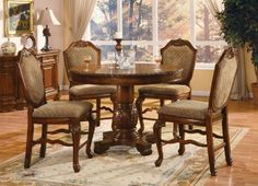 ACME 040482-SET Chateau de Ville 5-Piece Counter Height Dining Set, Table/4 Chairs, Cherry Finish by ACME, http://www.amazon.com/dp/B009IDWVXE/ref=cm_sw_r_pi_dp_IROJrb1W3Z436