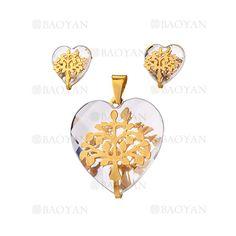 juego dije y aretes de cristal corazon con arbol en acero dorado inoxidable -SSSTG053831