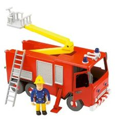 Fireman Sam - Friction Fire Engine with Sam Figure: Friction powered fire engine with ladder, crane arm, and opening doors; Fireman Sam Figures, Fireman Sam Toys, Fireman Sam Cake, Nerf Toys, Sam Sam, 3d Puzzles, Childrens Gifts, Fire Engine, Toy Store