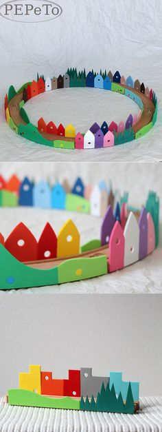 IKEA HACKS - glue foam houses to IKEA wooden train track pretty!!