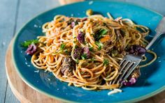 A gutsy pasta made with pilchards in tomato sauce.