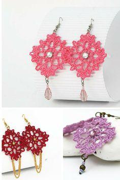 Crochet earrings Diamond Collection - Pendientes, aretes de ganchillo. Colección Diamante