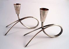 Mid Century Silver Plated Moderne Candleholders by BestChoices