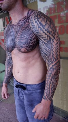 """drews-inklets: """"Both sleeves and chest by Samoan Mike @SacredCenterTattoo """""""
